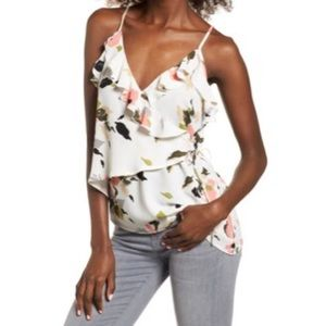 Tops - Leith floral wrap tank